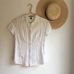 Minimalist white linen button down shirt